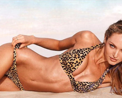 Leopard print two piece split bikini