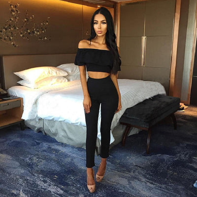 Luxury two piece crop top and trousers