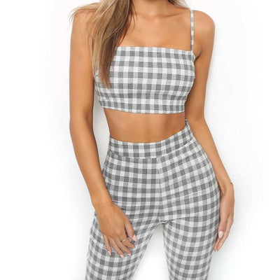 Plaid Two Piece Set Tracksuit