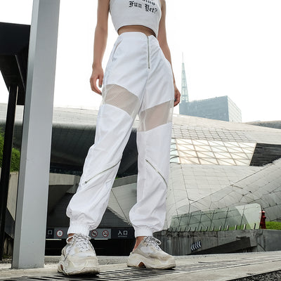 White patchwork mesh pants