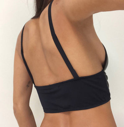 Leather spaghetti strap crop