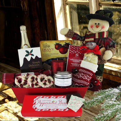 A Traditional Christmas Gift Basket, with Champagne