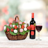 The Blooming Chocolate Dipped Strawberry Gift Basket With Wine