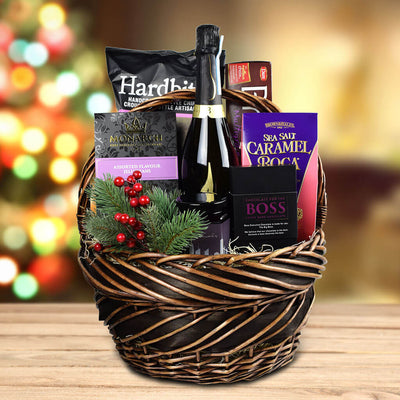 The Winter Treats Gift Basket With Sparkling Wine