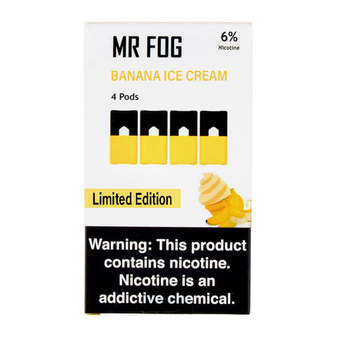 Mr Fog Banana Ice Cream 4 Pods Limited