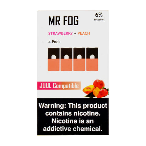Mr Fog Strawberry + Peach 4 Pods