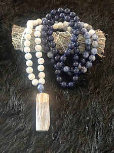 Sodalite, White Lava Bead & Blue Kyanite Mala