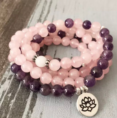 Amethyst & Rose Quartz Triple Wrap Bracelet or Necklace