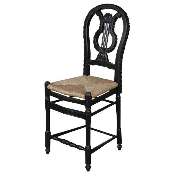 Angelia Lyre Black  Bar Height Stool Set of 2