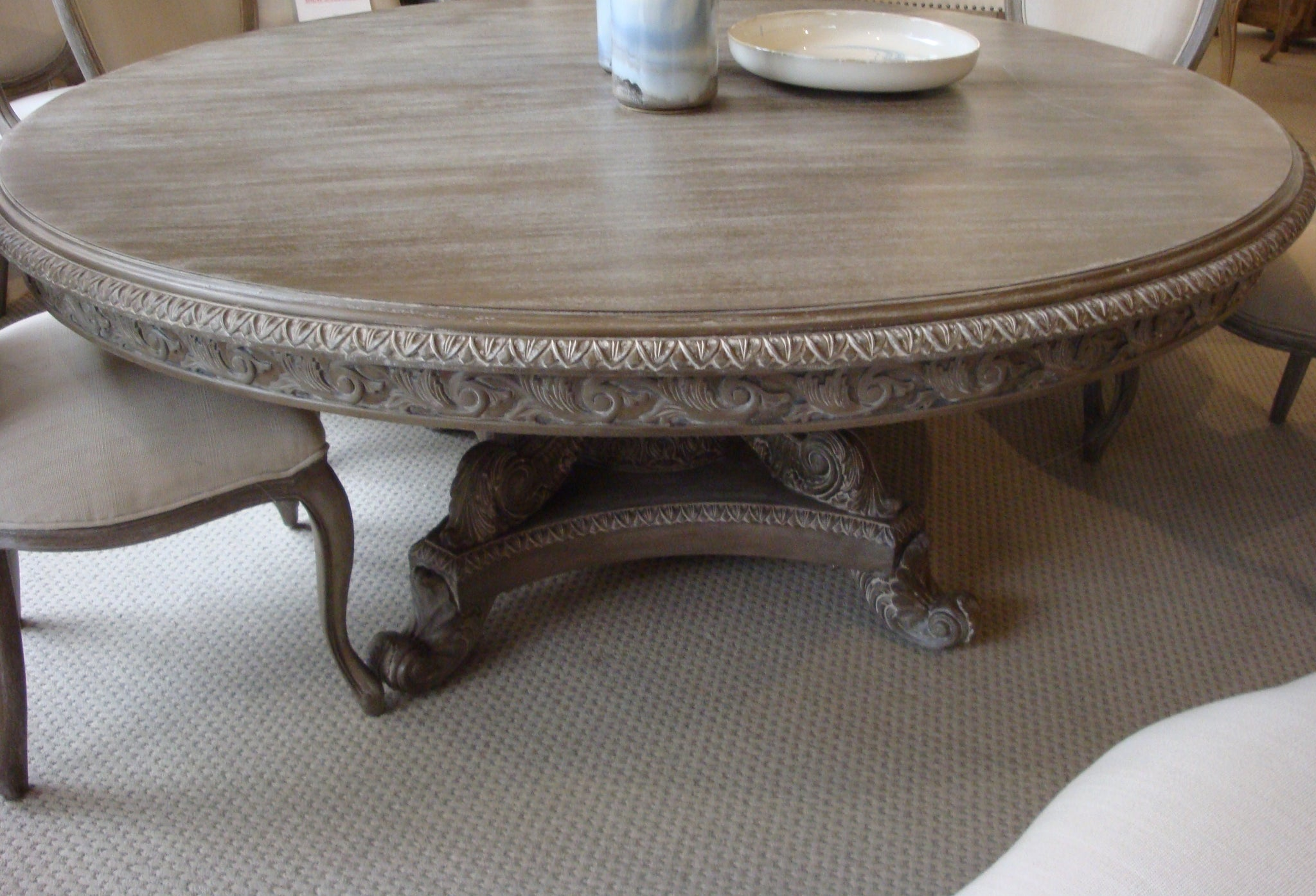 "Angelia Majestic Hand Carved Parchment Pedestal 72"" Dining Table - Furniture on Main"