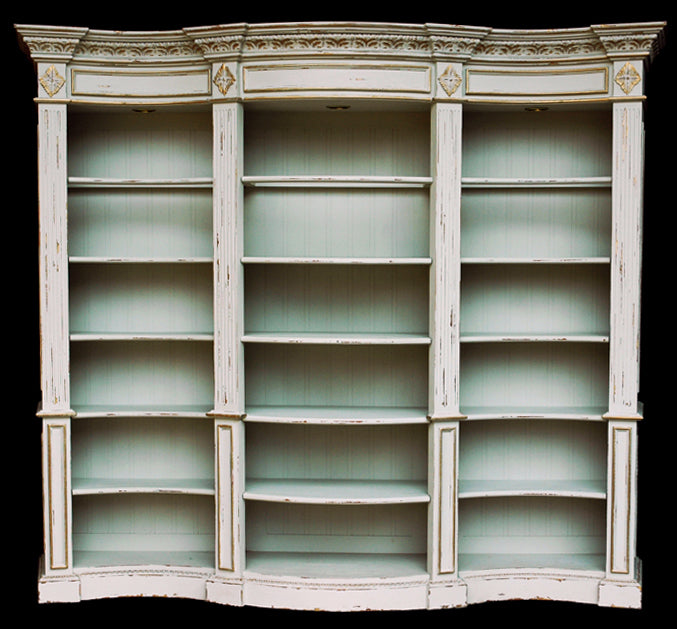 Windsor Curved Library Bookcase Display Cabinet White distressed