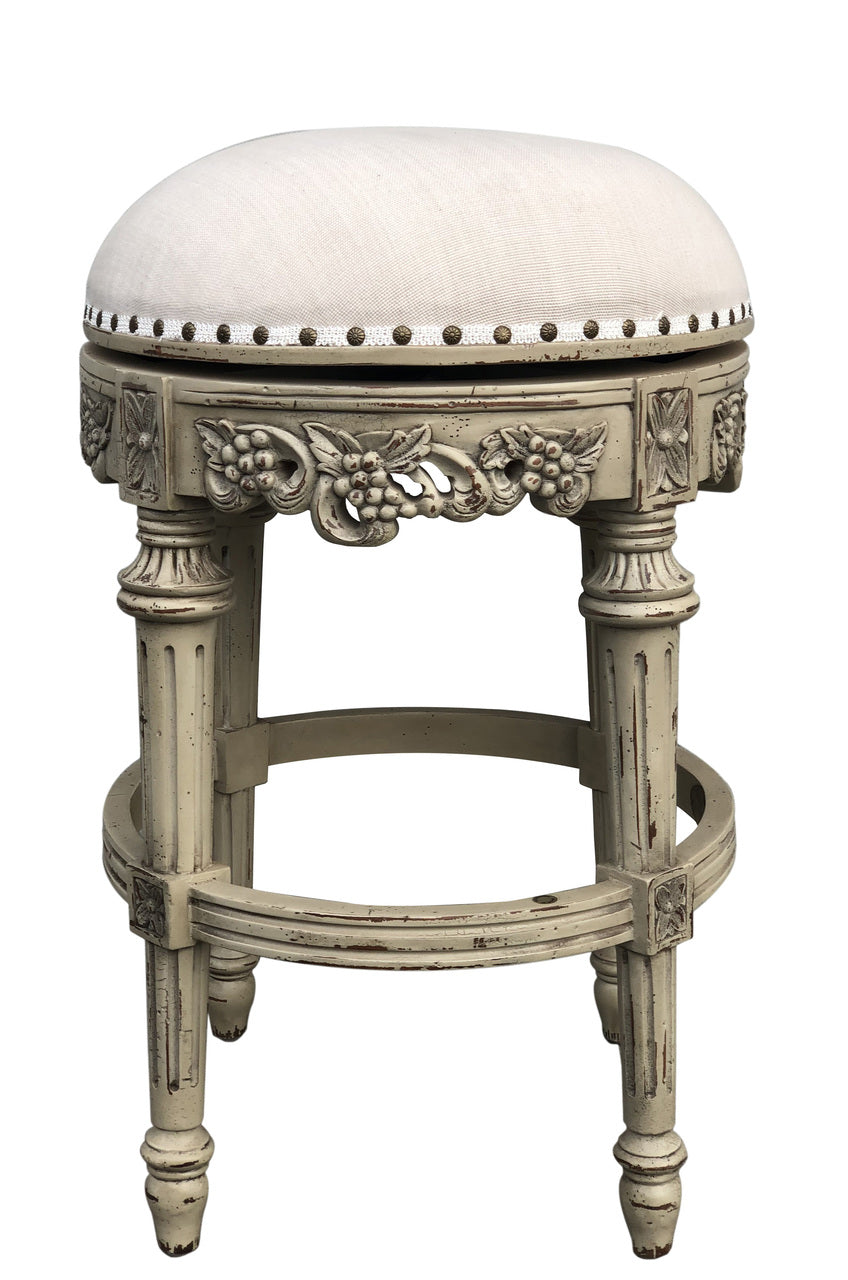 Hand Carved Swivel Parchment Counter Height Barstool set of 4