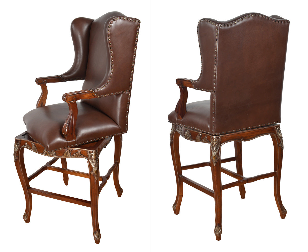 Leather Winged Swivel Barstool with Arms Bar Height