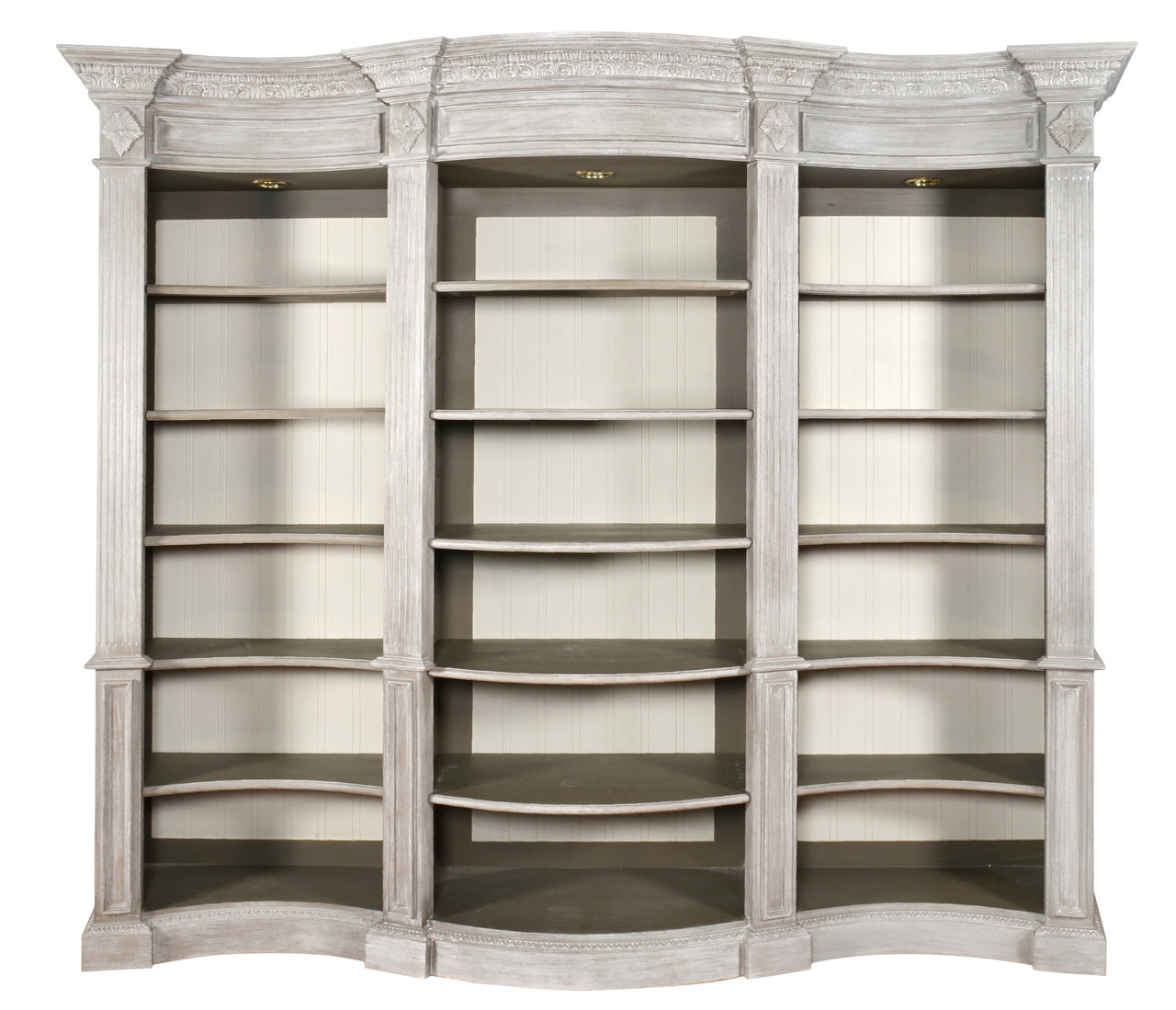 Windsor Curved Library Bookcase Display Cabinet Misty Grey