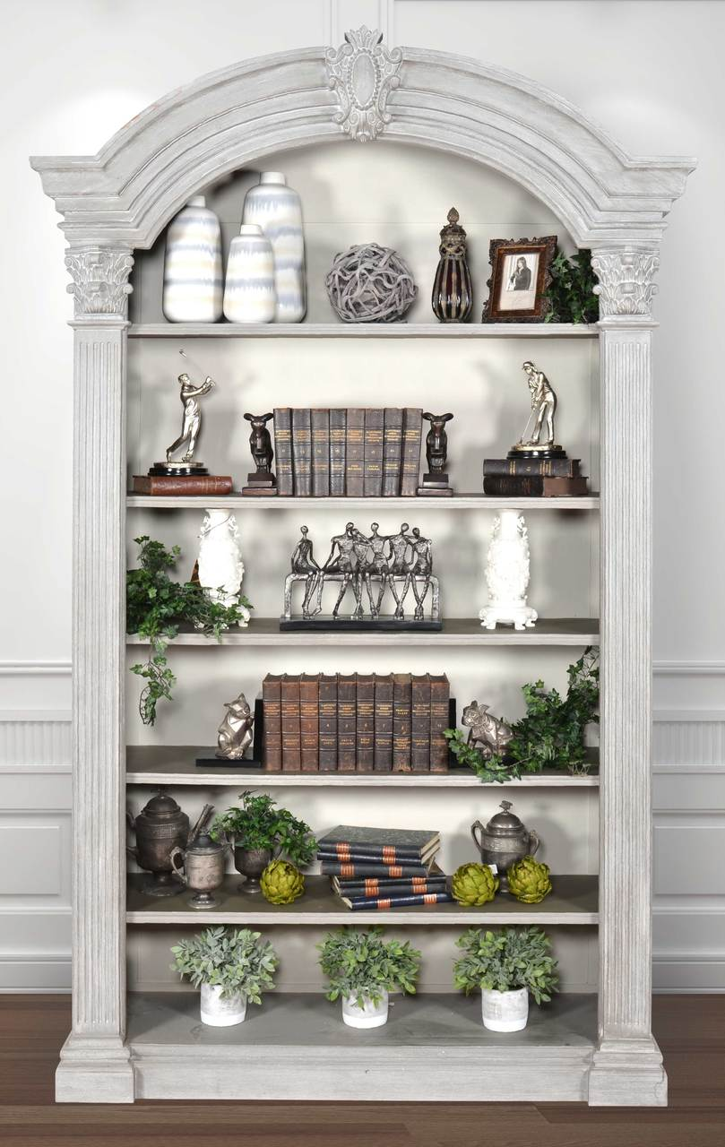 Arched Elegant Bookcase Misty Grey Finish