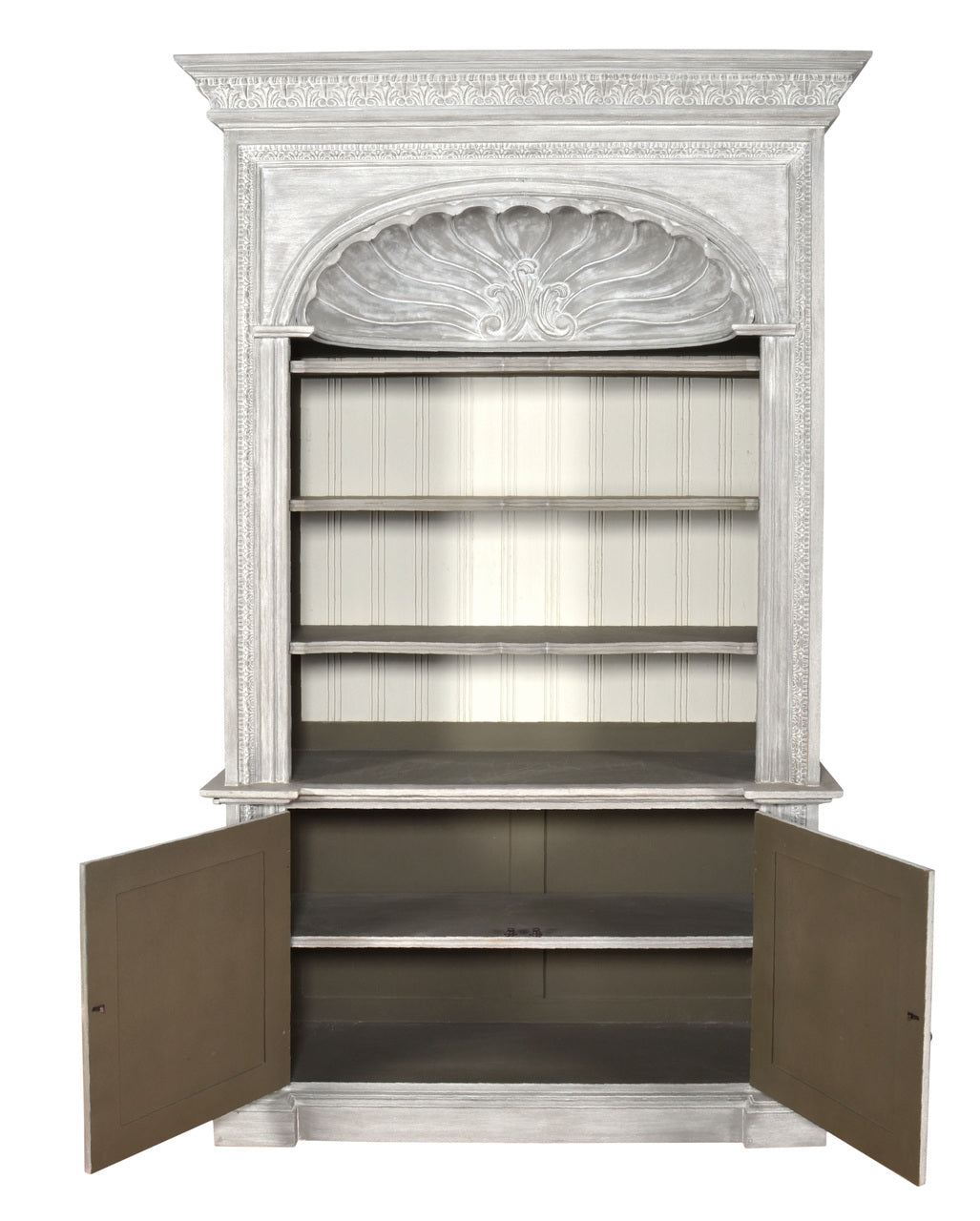 Misty Grey Shell Library Bookcase