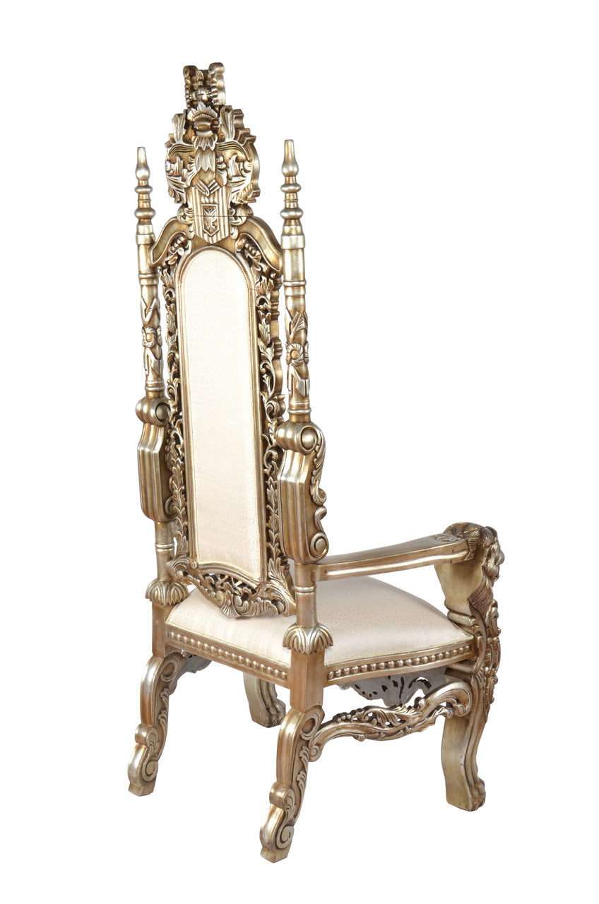 Hand carved Royal King Lion Chair Gold