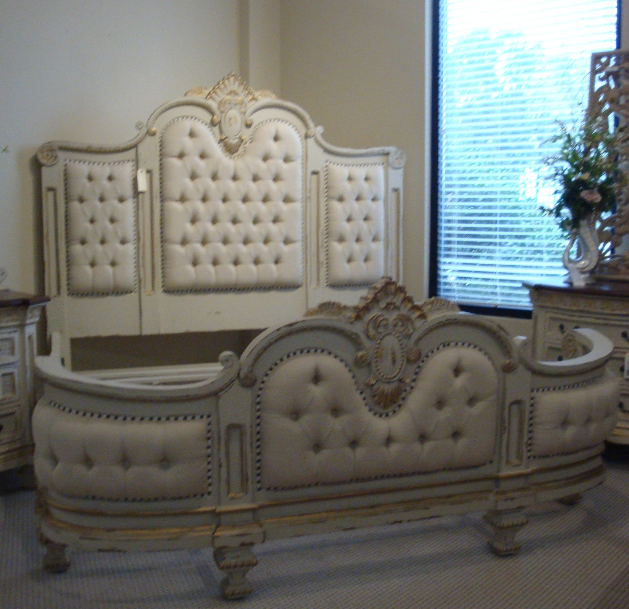 Massive Mansion Linen Tufted French King Bed White - Furniture on Main