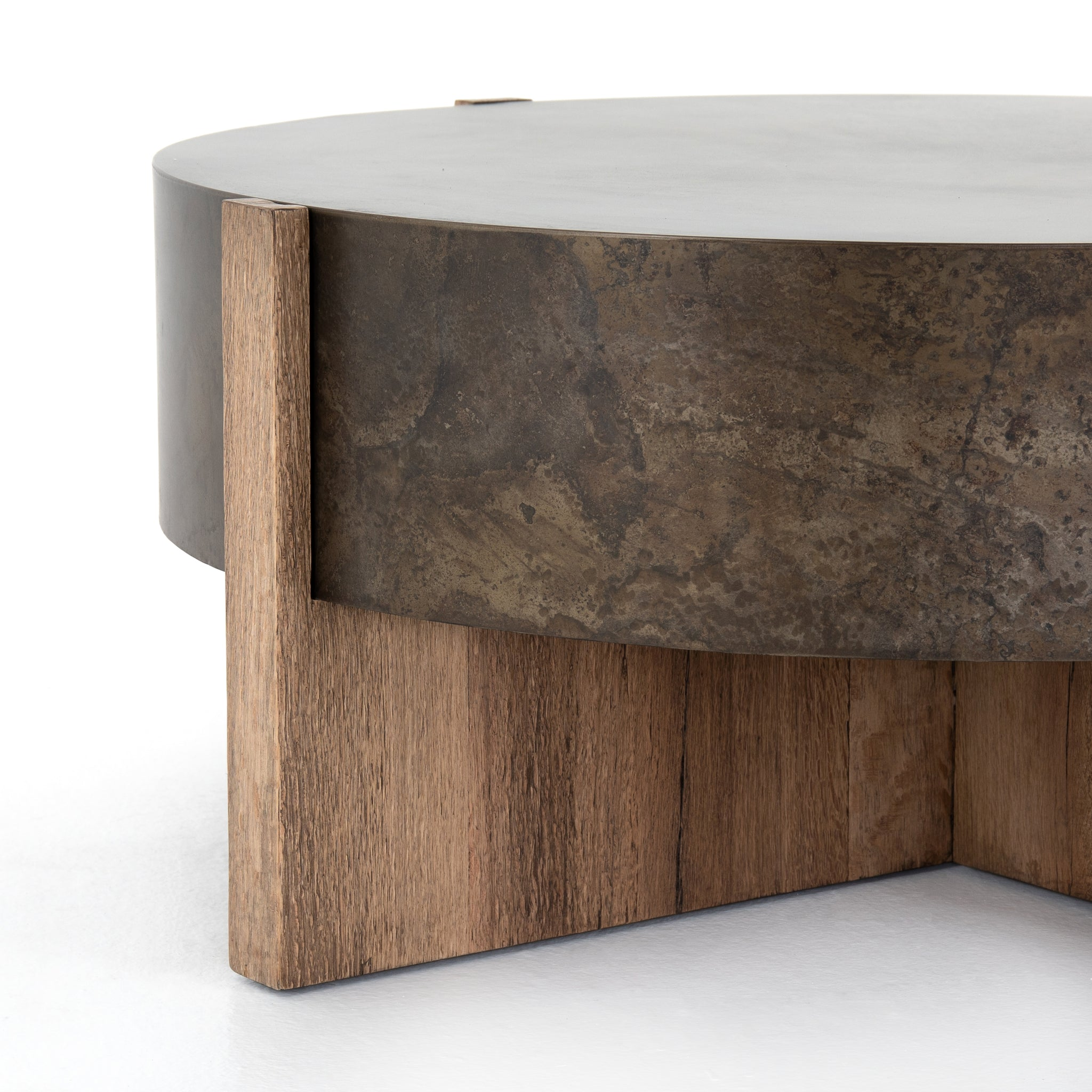Modern Rustic Oak Round Drum Coffee Table