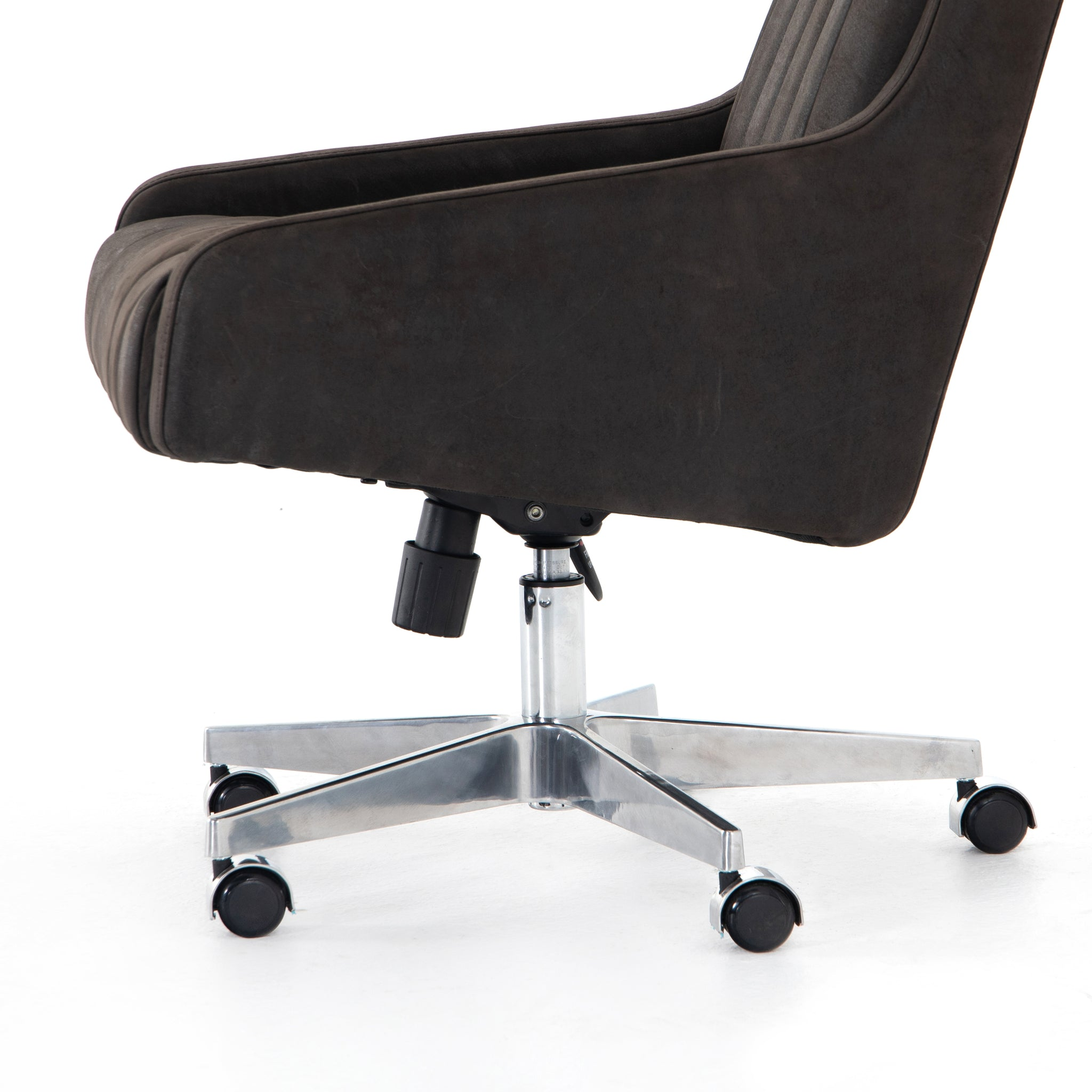 Channel Back Top Grain Leather Office Desk Chair Black