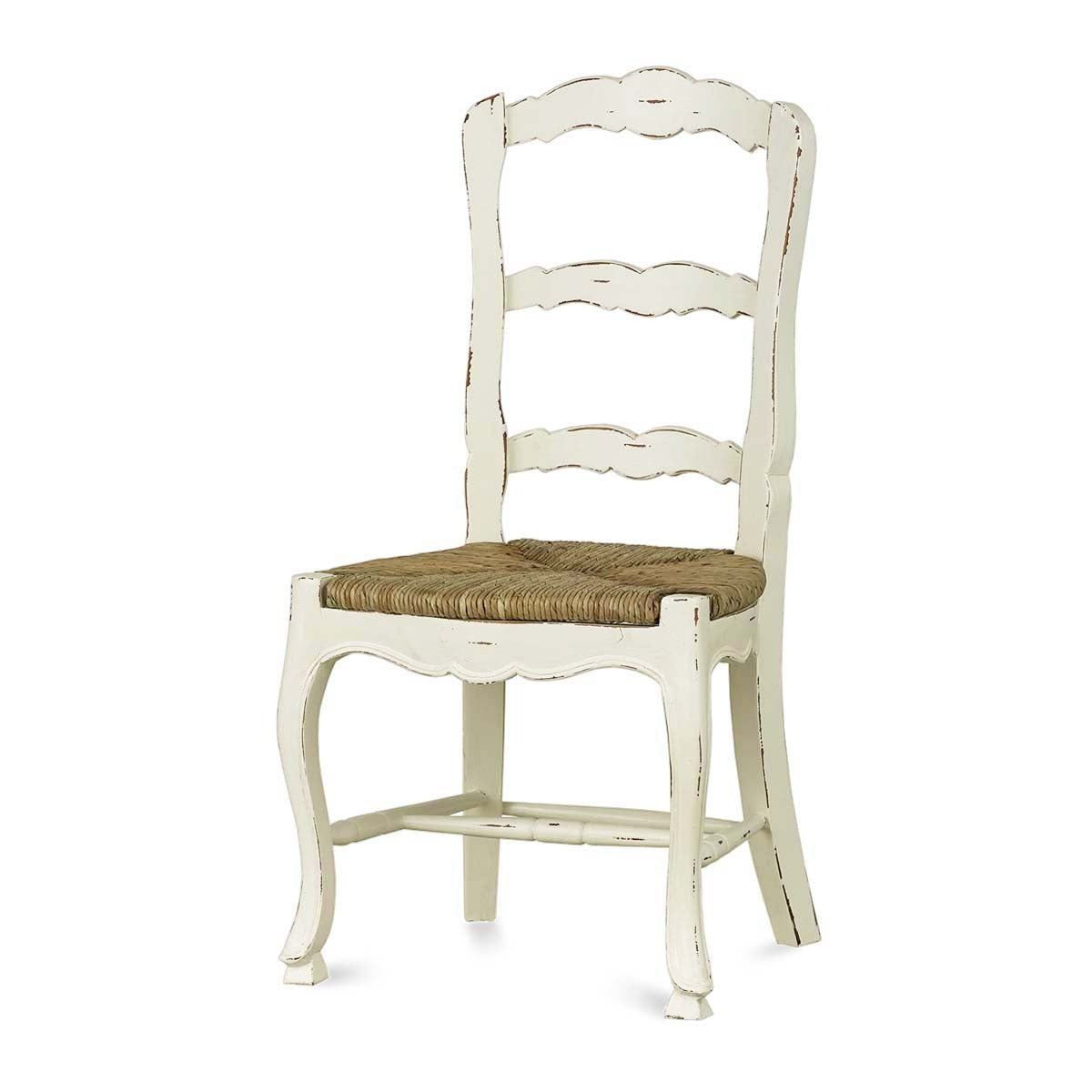 French Country Ladderback Dining Chair Set of 4 White