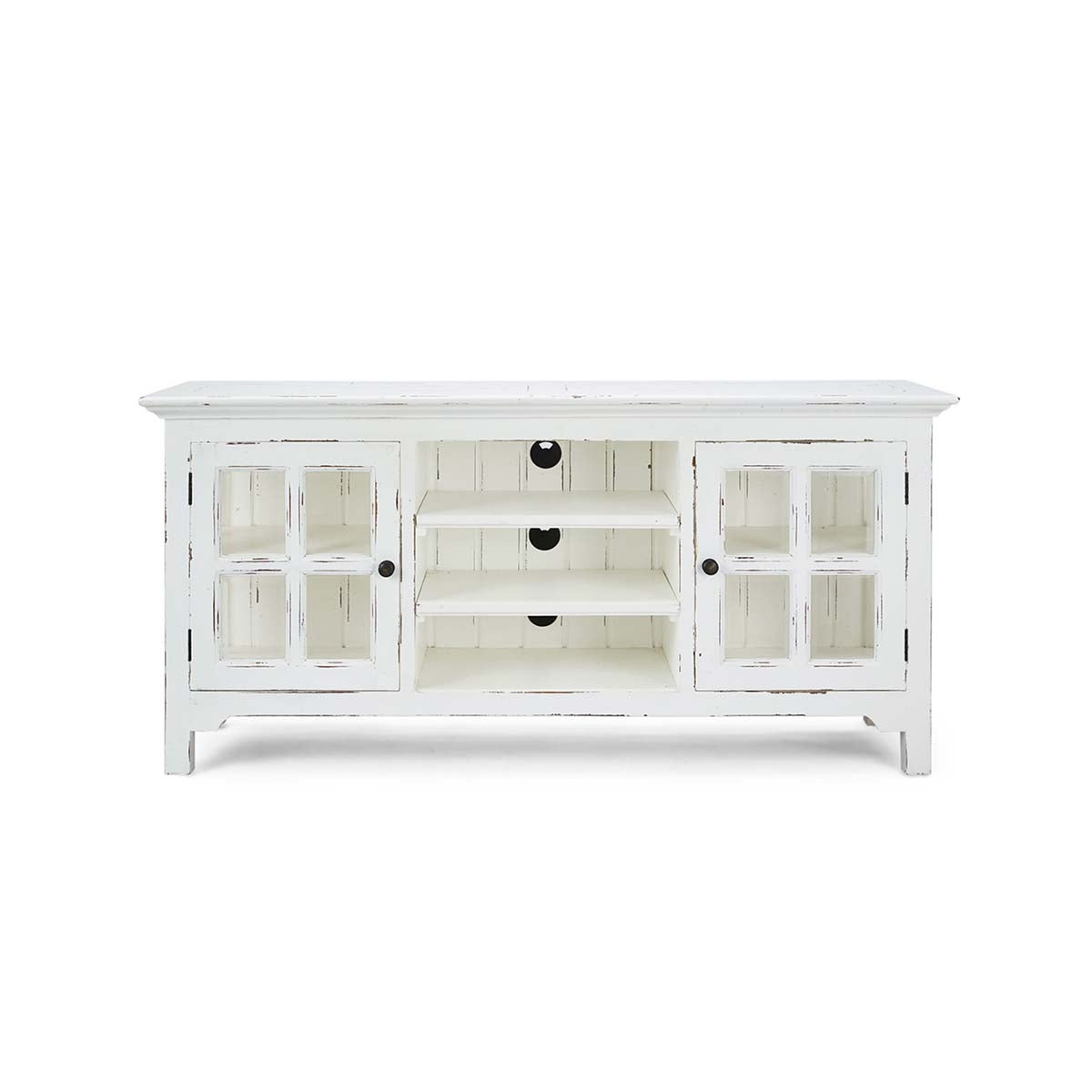 Windowpane Media Center White Distressed