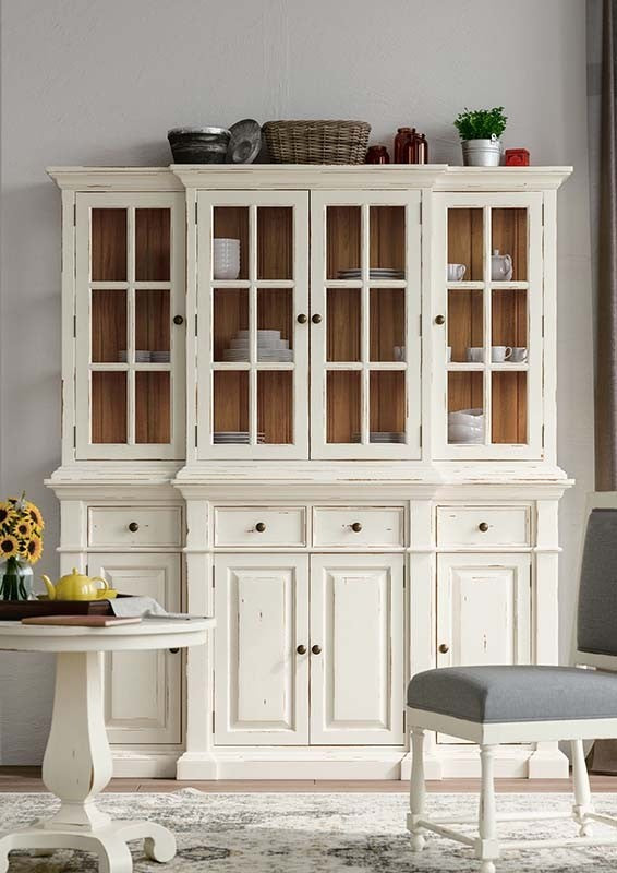 Farmhouse Buffet with Hutch White Distressed - Furniture on Main