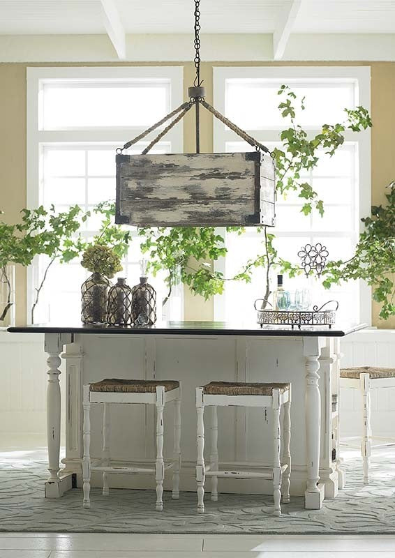 Roosevelt White Distressed Kitchen Island Counter Drop Leaf Bar Top - Furniture on Main