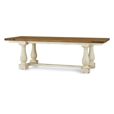 "84"" Farmhouse Trestle Dining Table White & Driftwood Hemmingway"