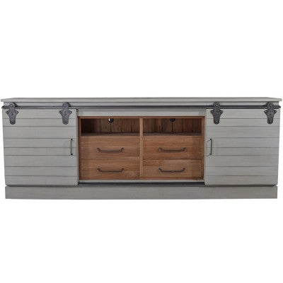Sliding Door Farmhouse Entertainment Center XL 114""