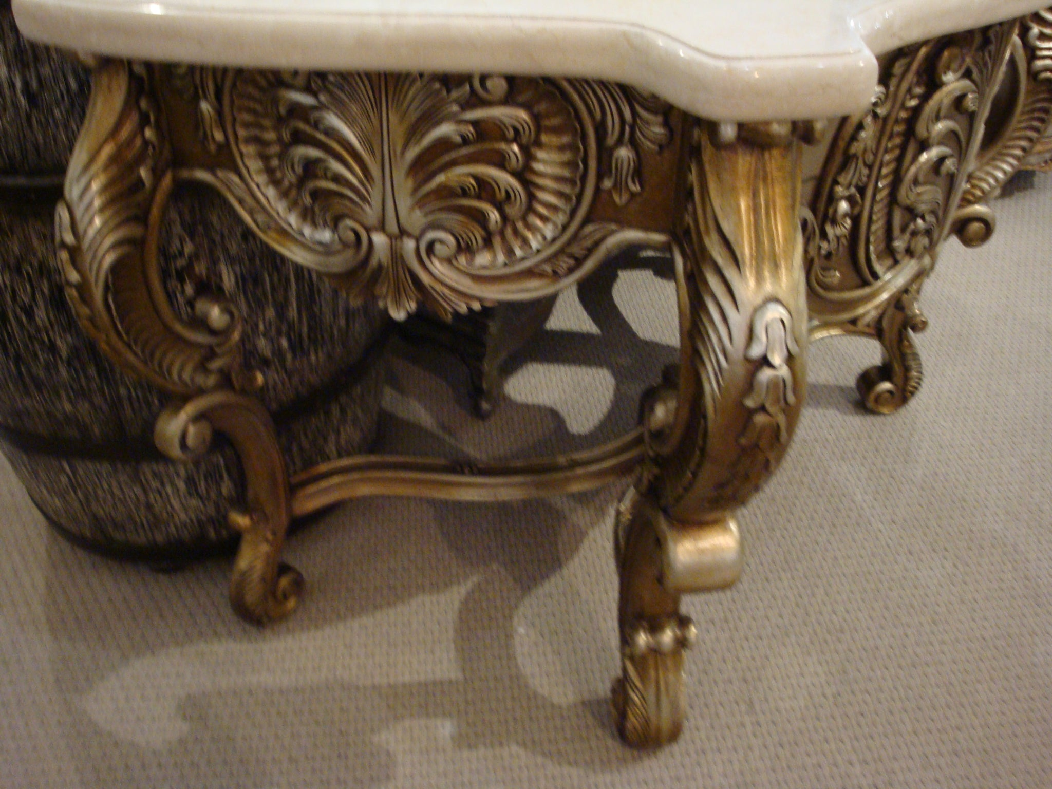 Gold Gilt Single Carved Vanity Marble Top - Furniture on Main