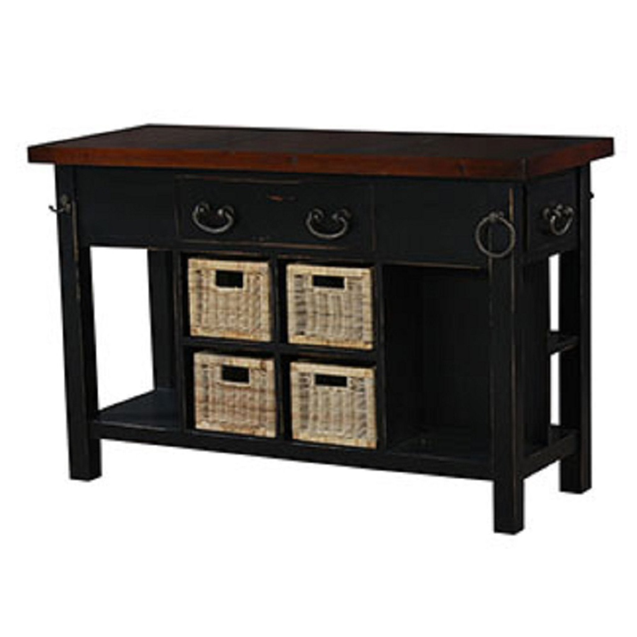 4 Center Baskets Kitchen Island Black Distressed - Furniture on Main