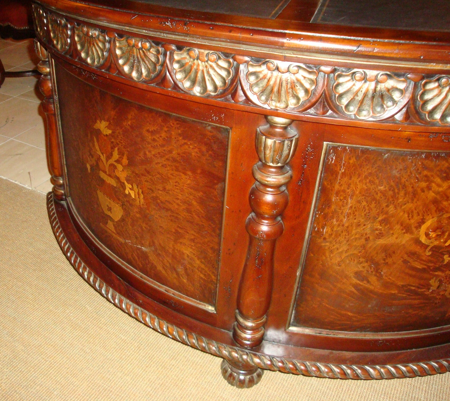 Demilune Inlay Mahogany Desk - Furniture on Main