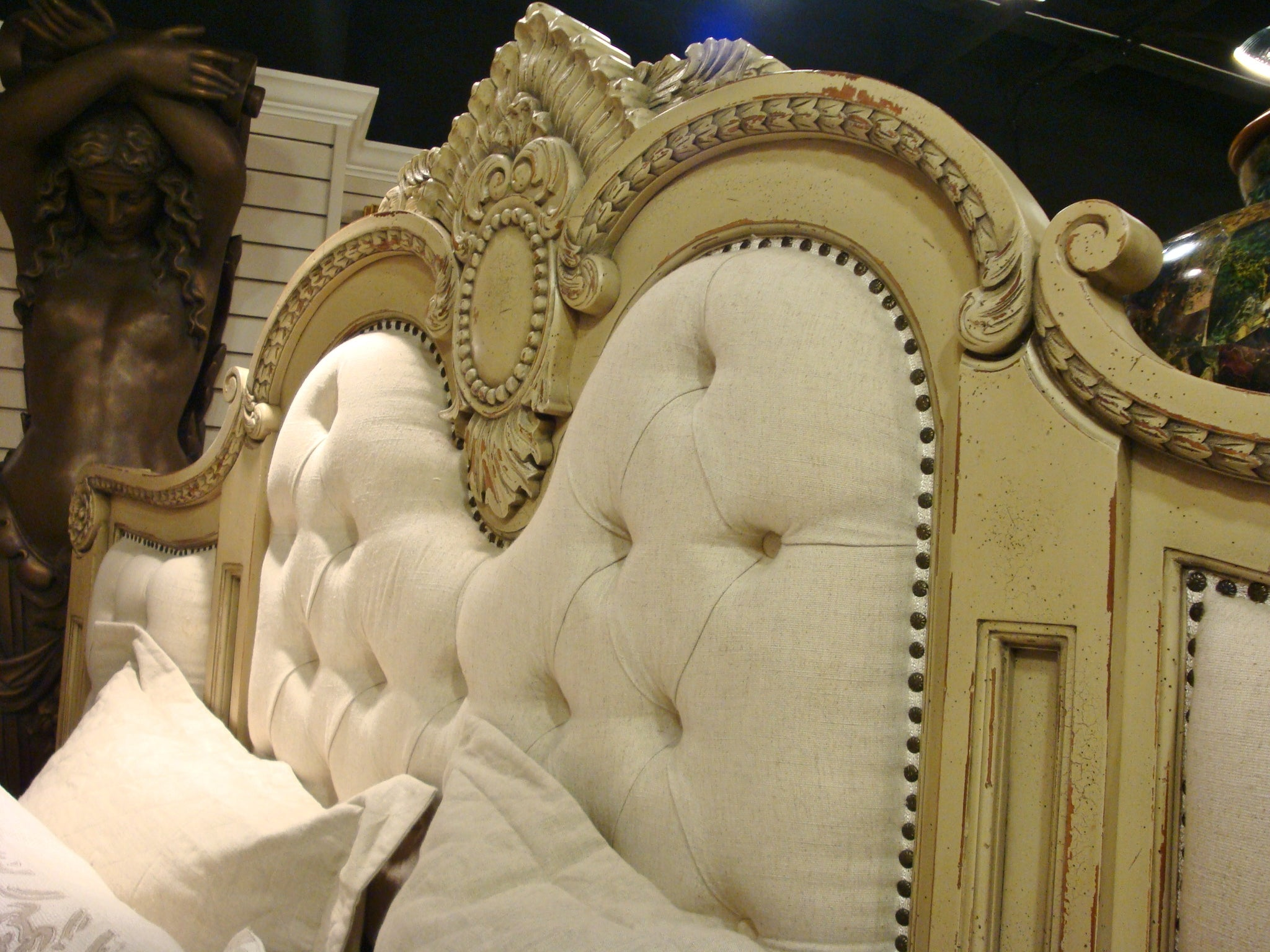 Massive Mansion King Bed Parchment Finish - Furniture on Main