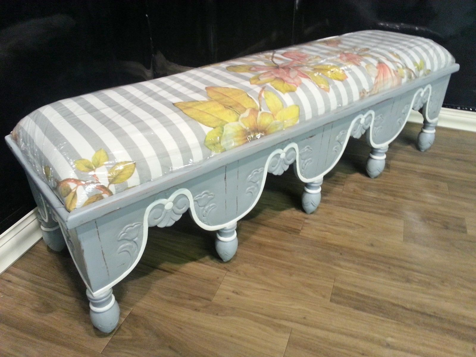 Steven Shell Upholstered Venetian Bench Grey Mist Distressed
