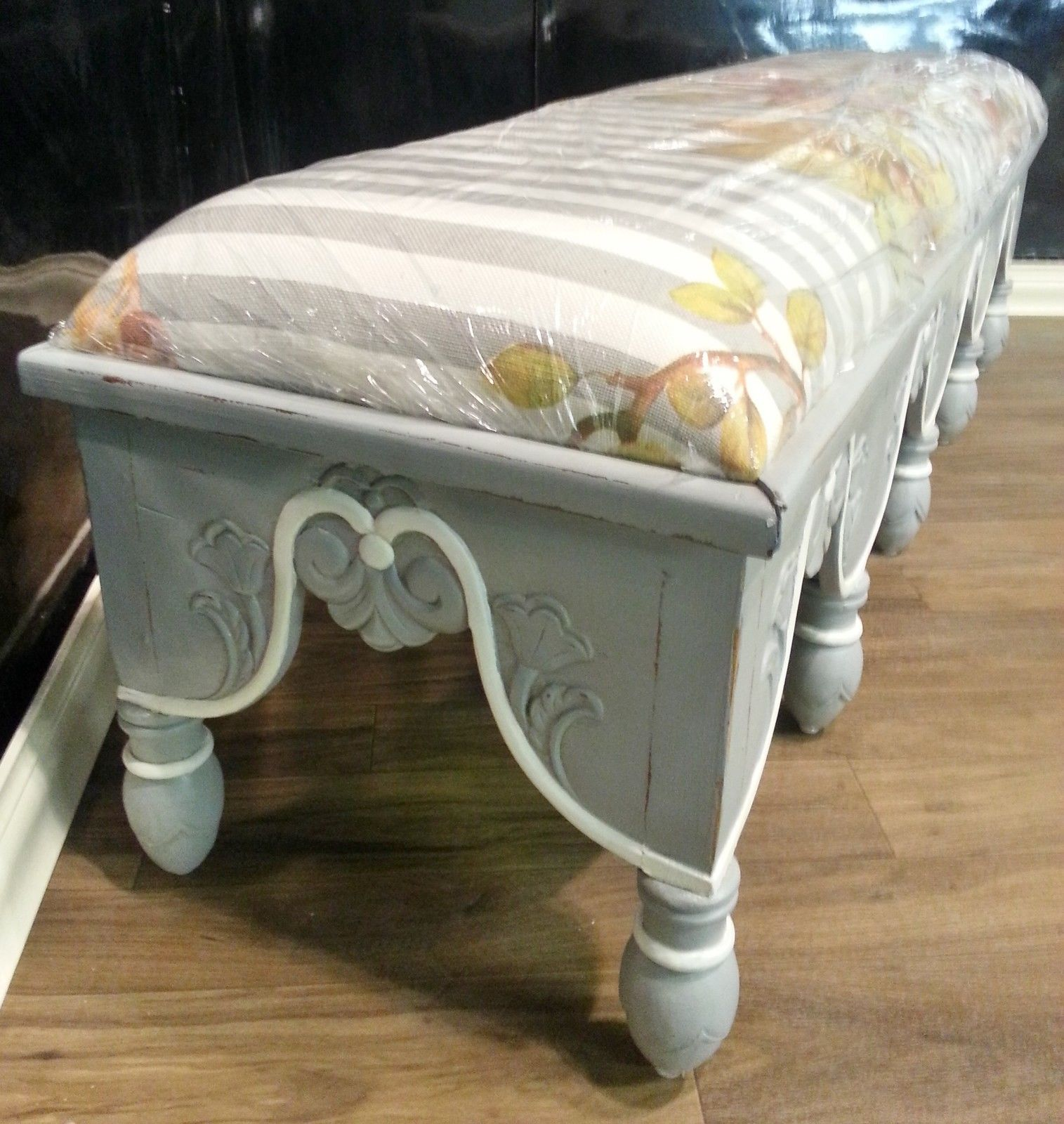 Steven Shell Upholstered Venetian Bench Grey Mist Distressed - Furniture on Main