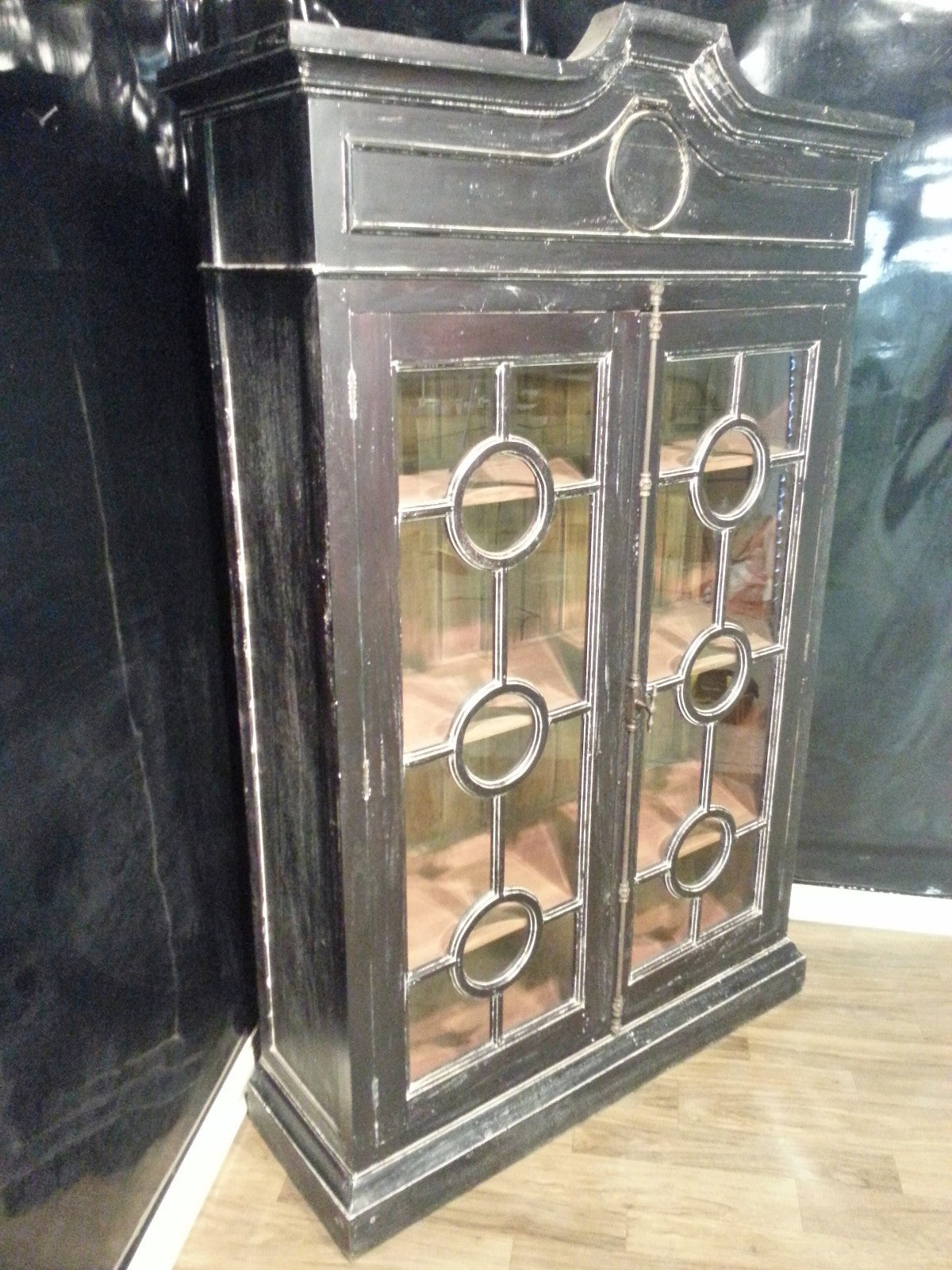 Steven Shell Burlington Display Cabinet Bookcase Black Distressed