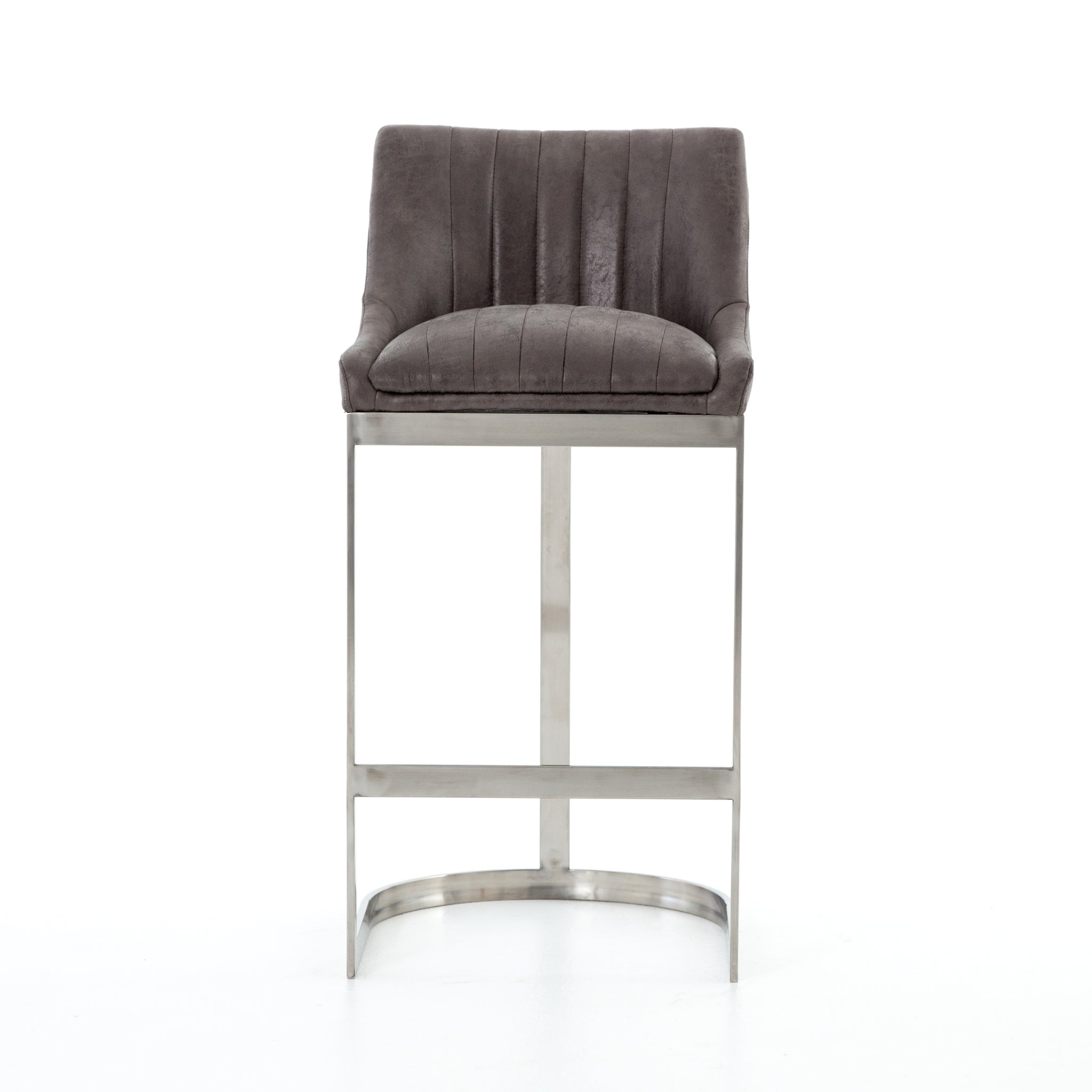 Awesome Channel Tufted Modern Barstool Graphite Set Of 3 Bar Height Stools Inzonedesignstudio Interior Chair Design Inzonedesignstudiocom