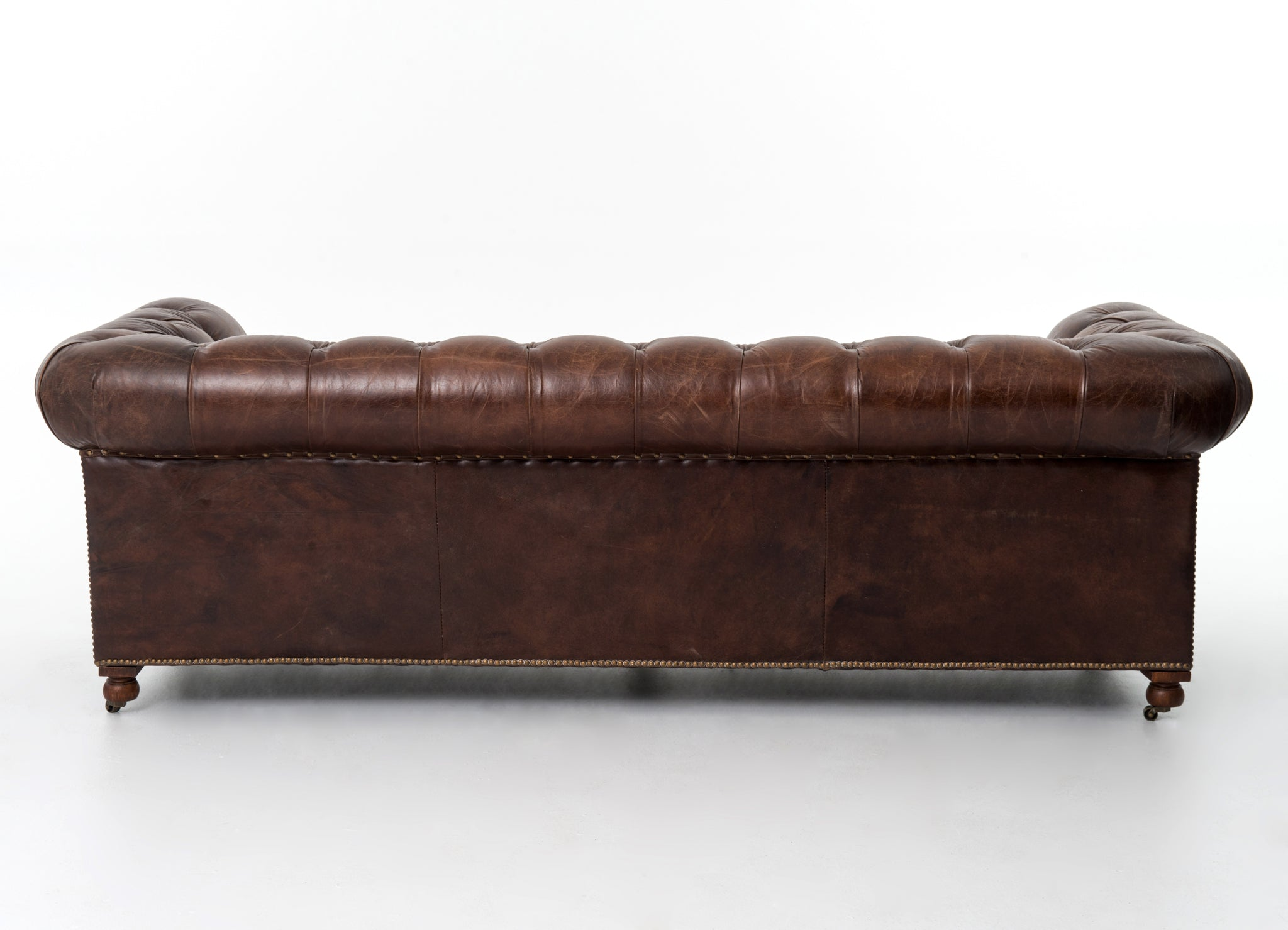 Chesterfield Style Button Tufted Leather Sofa Vintage Brown 95.5""