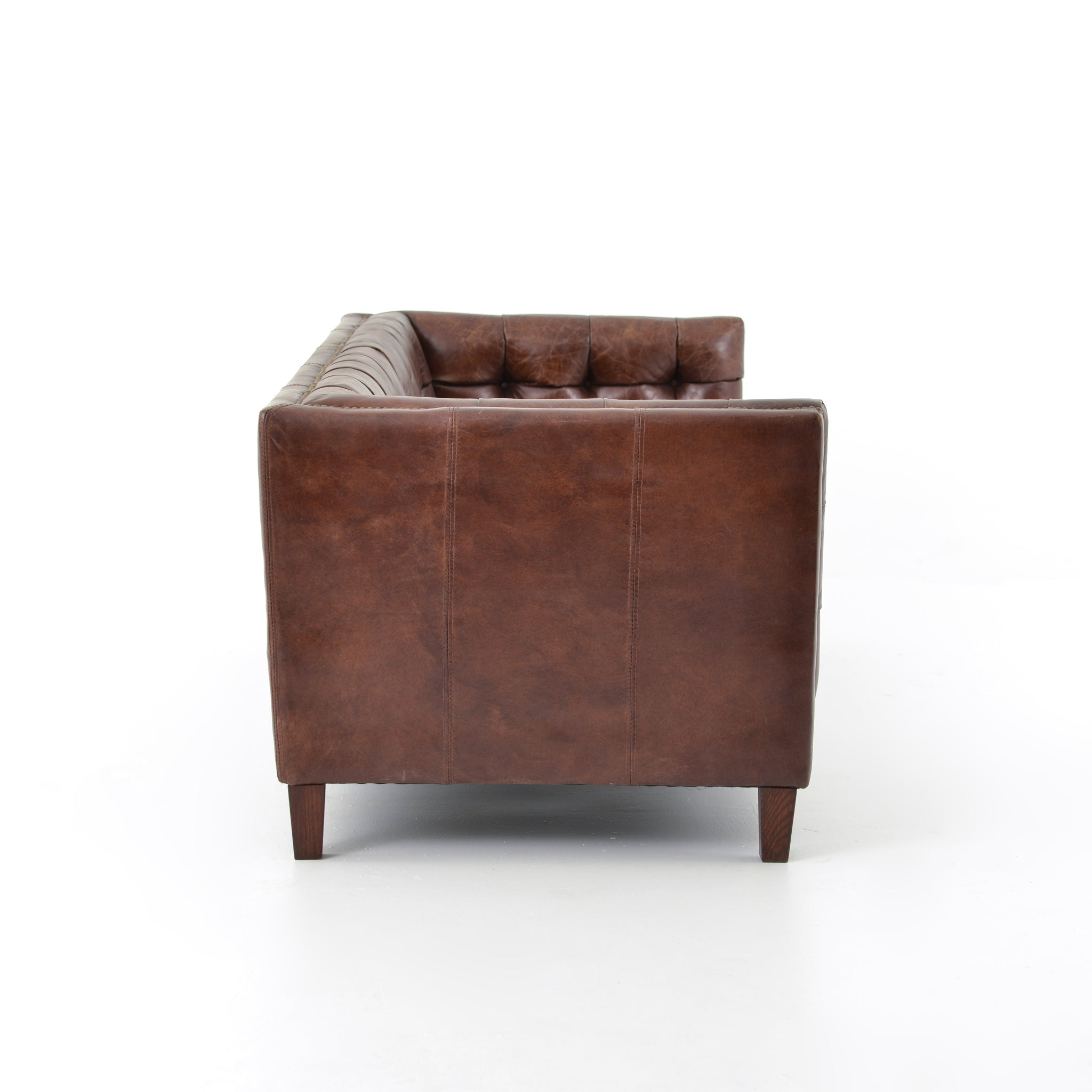 "85"" Top Grain Leather Brown Cigar Leather Sofa"