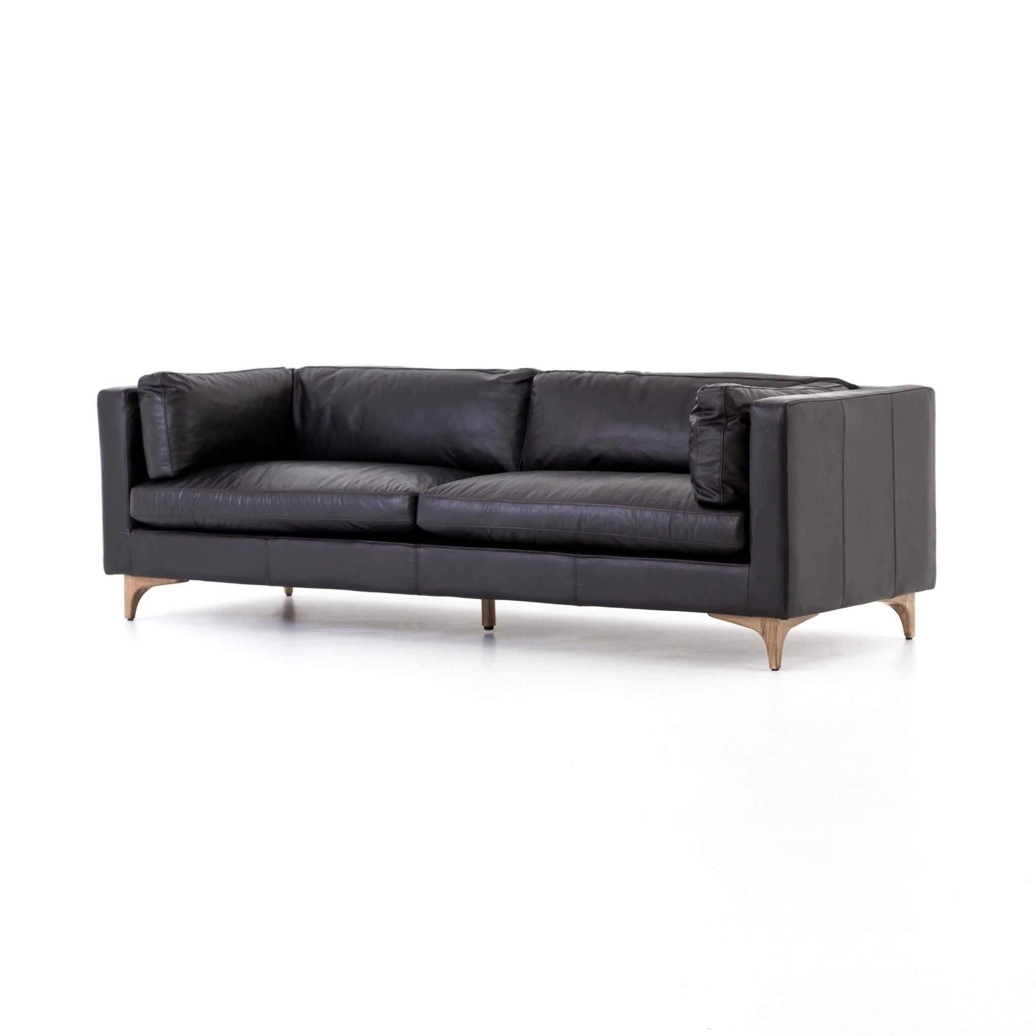 Mid Century Modern Sofa Top Grain Leather Black - Furniture on Main