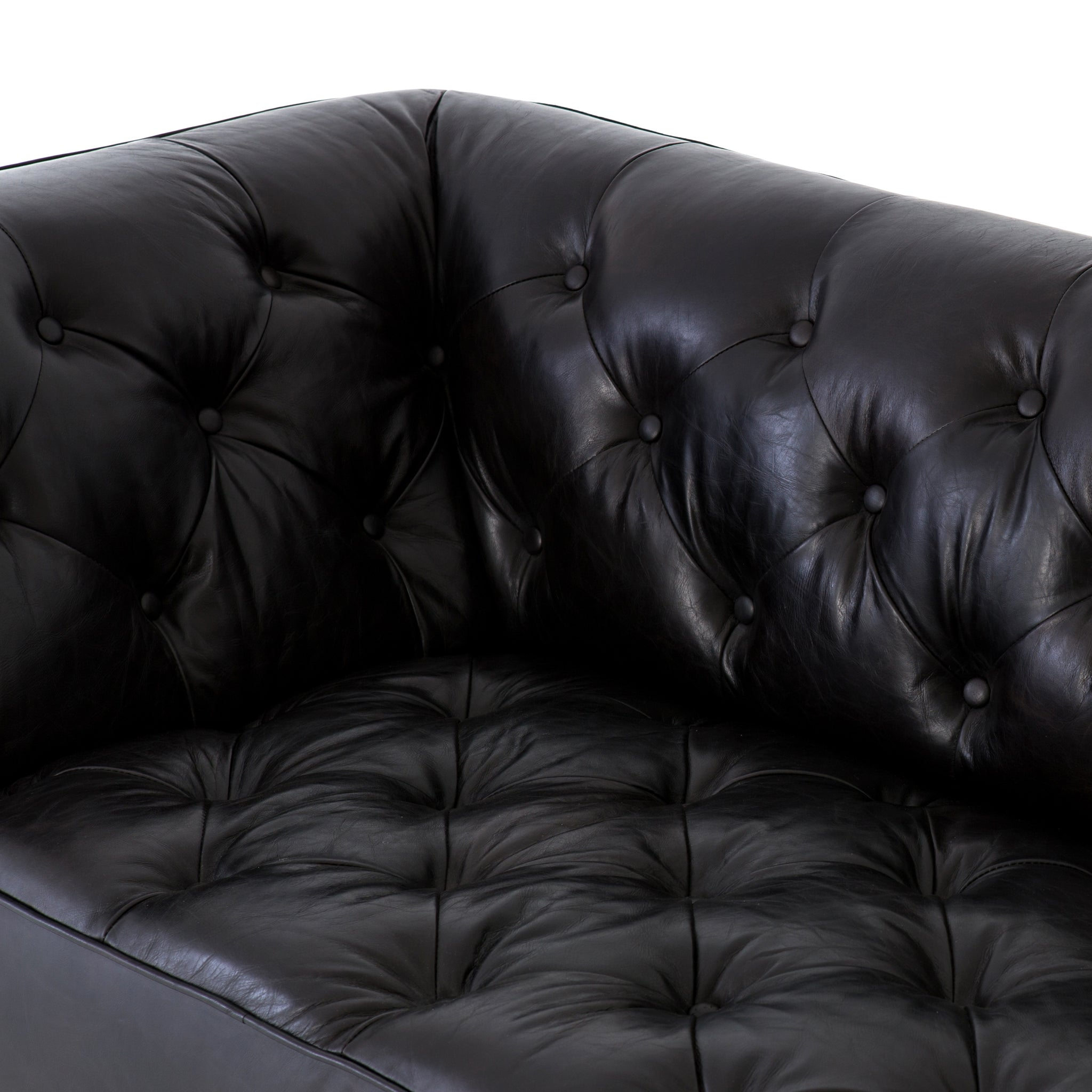 Contemporary Black Top Grain Leather Chesterfield - Furniture on Main