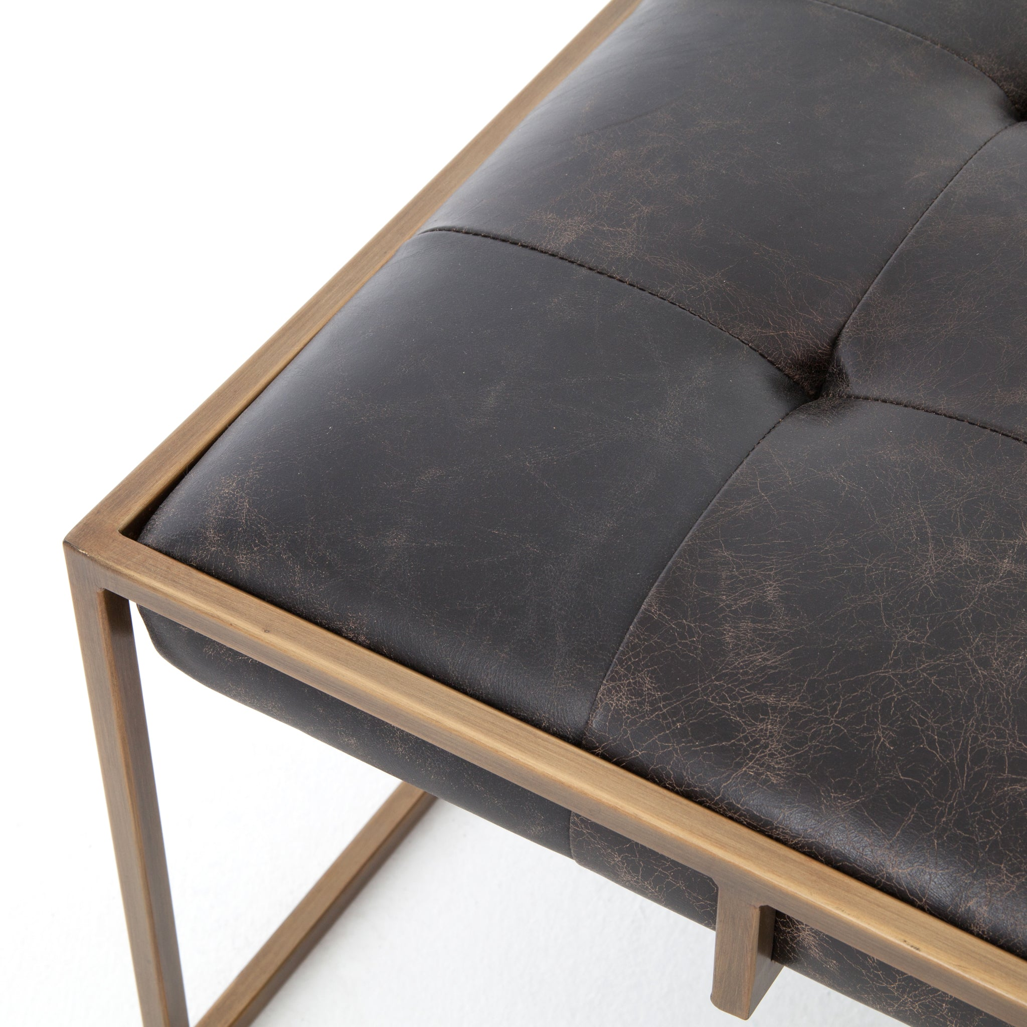 Top Grain Ebony Leather Square Cocktail Ottoman - Furniture on Main