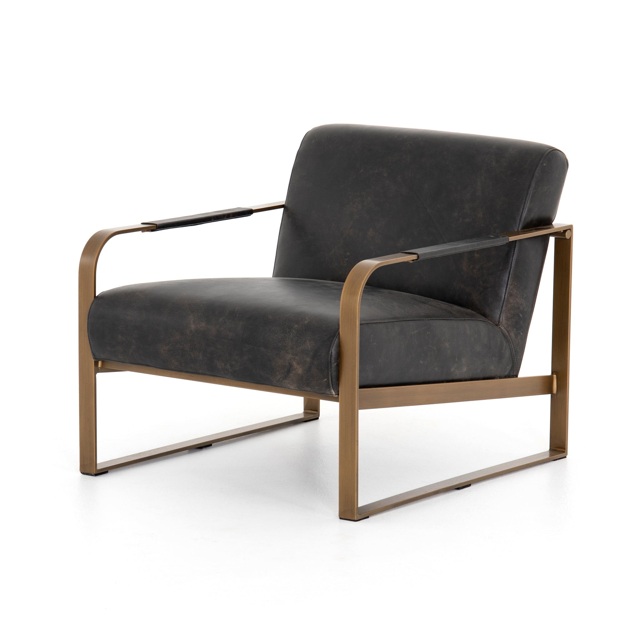 Modern-Minimalist Black Top Grain Leather Chair Iron Frame - Furniture on Main