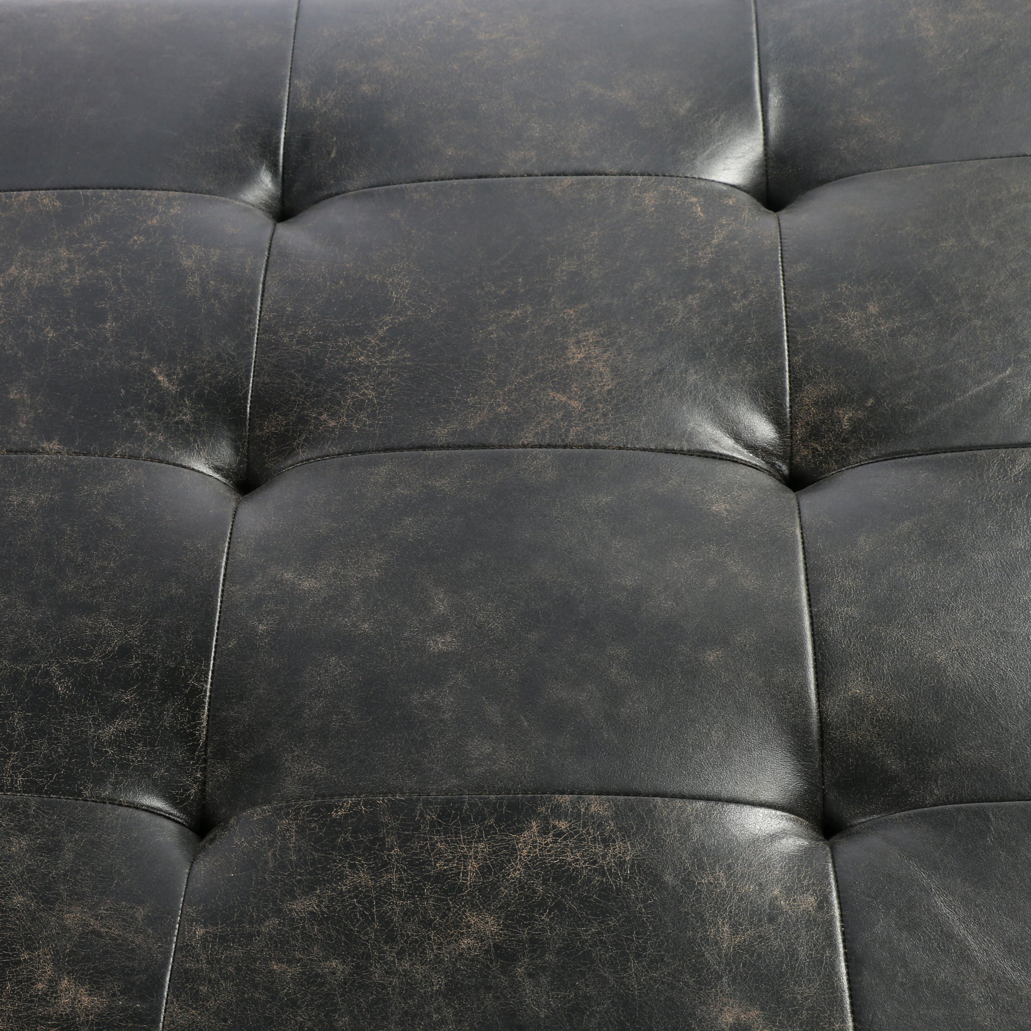 Top Grain Ebony Leather Cocktail Ottoman - Furniture on Main