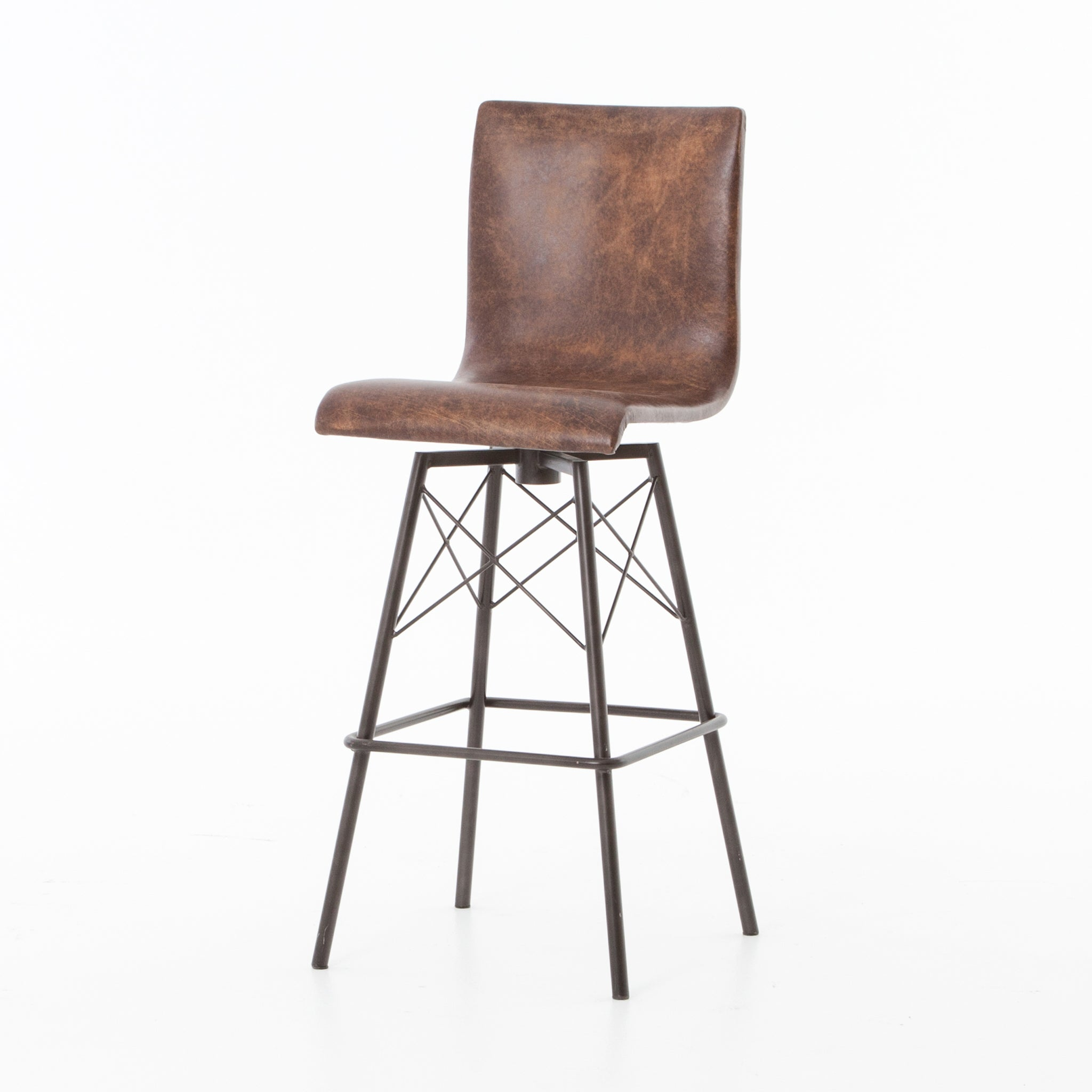 Enjoyable Mid Century Brown Leather Bar Height Barstools Set Of 3 Pdpeps Interior Chair Design Pdpepsorg