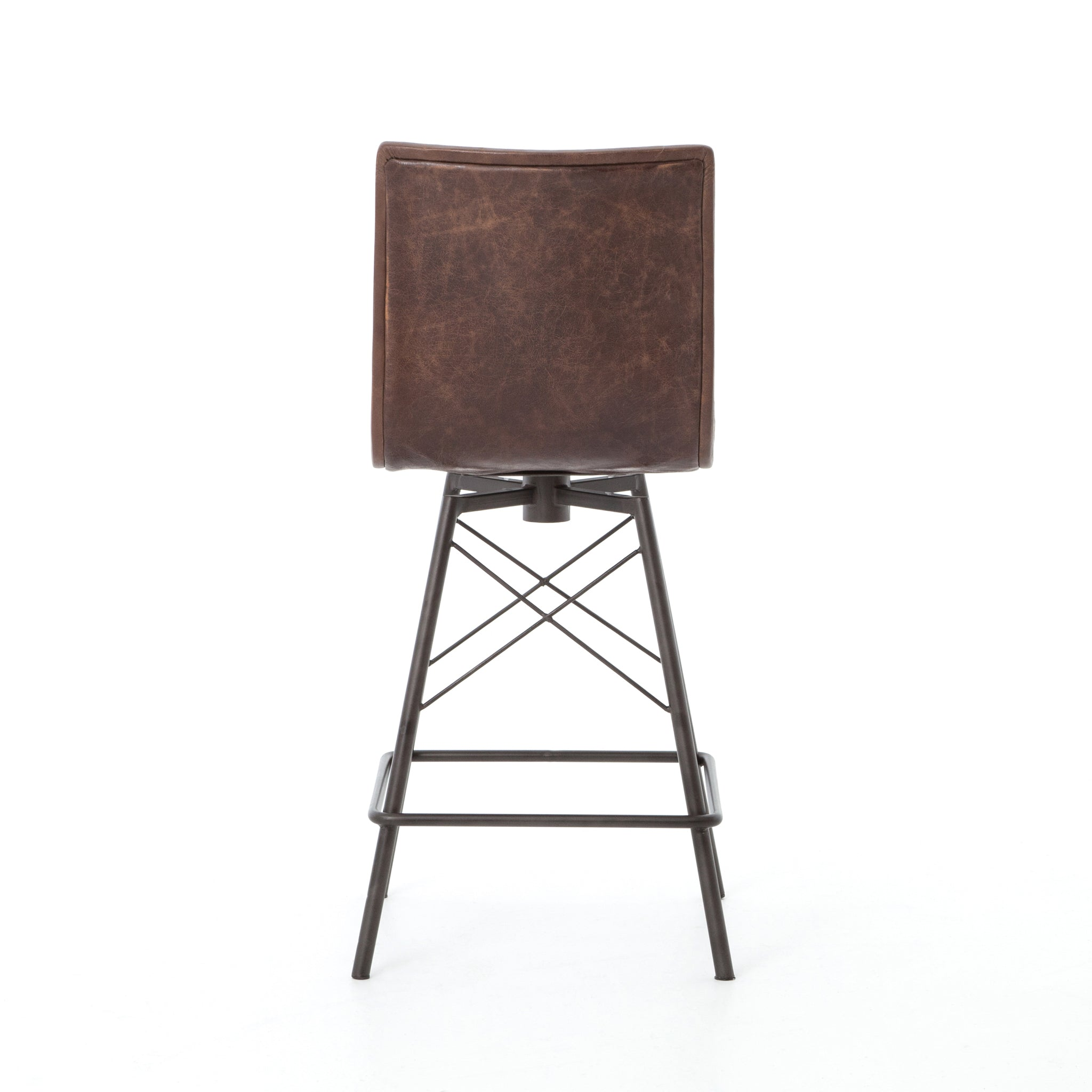 Mid Century Brown Leather Counter Height Barstools Set of 3 - Furniture on Main