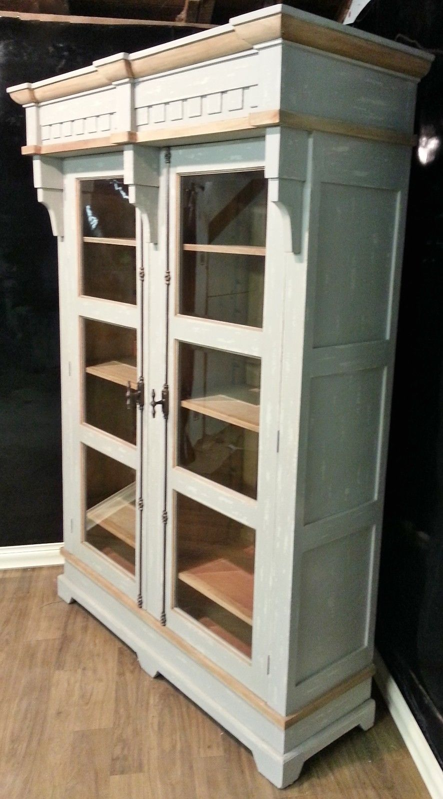 Steven Shell Hyde Two Door Display Cabinet Bookcase Grey Crush - Furniture on Main