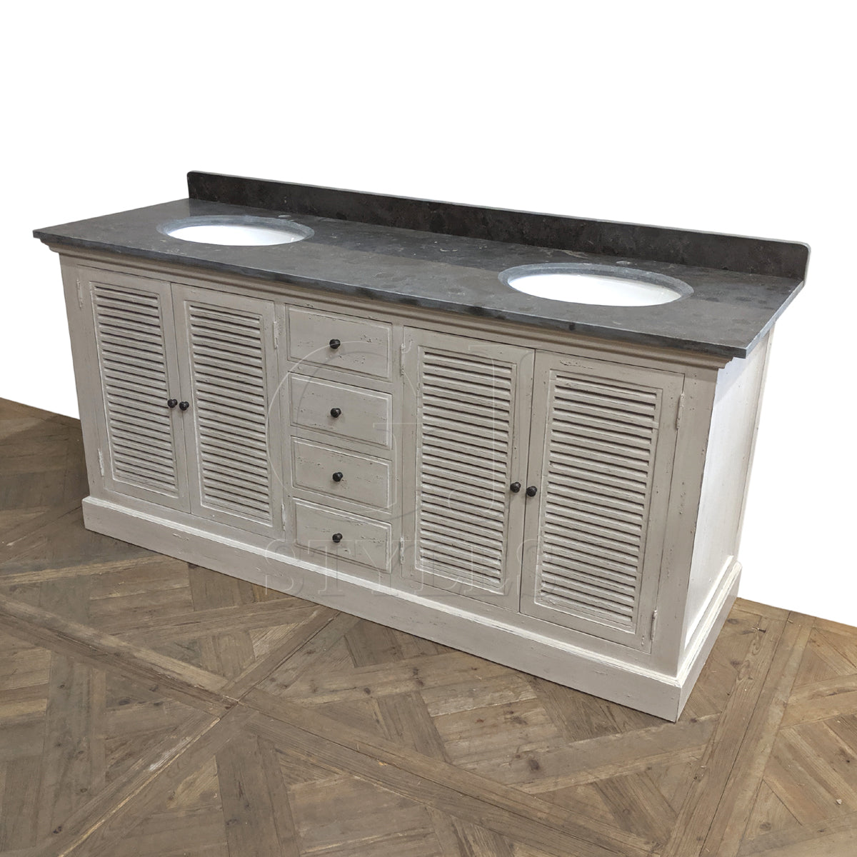 Farmhouse White Painted Double Vanity Louvered Doors
