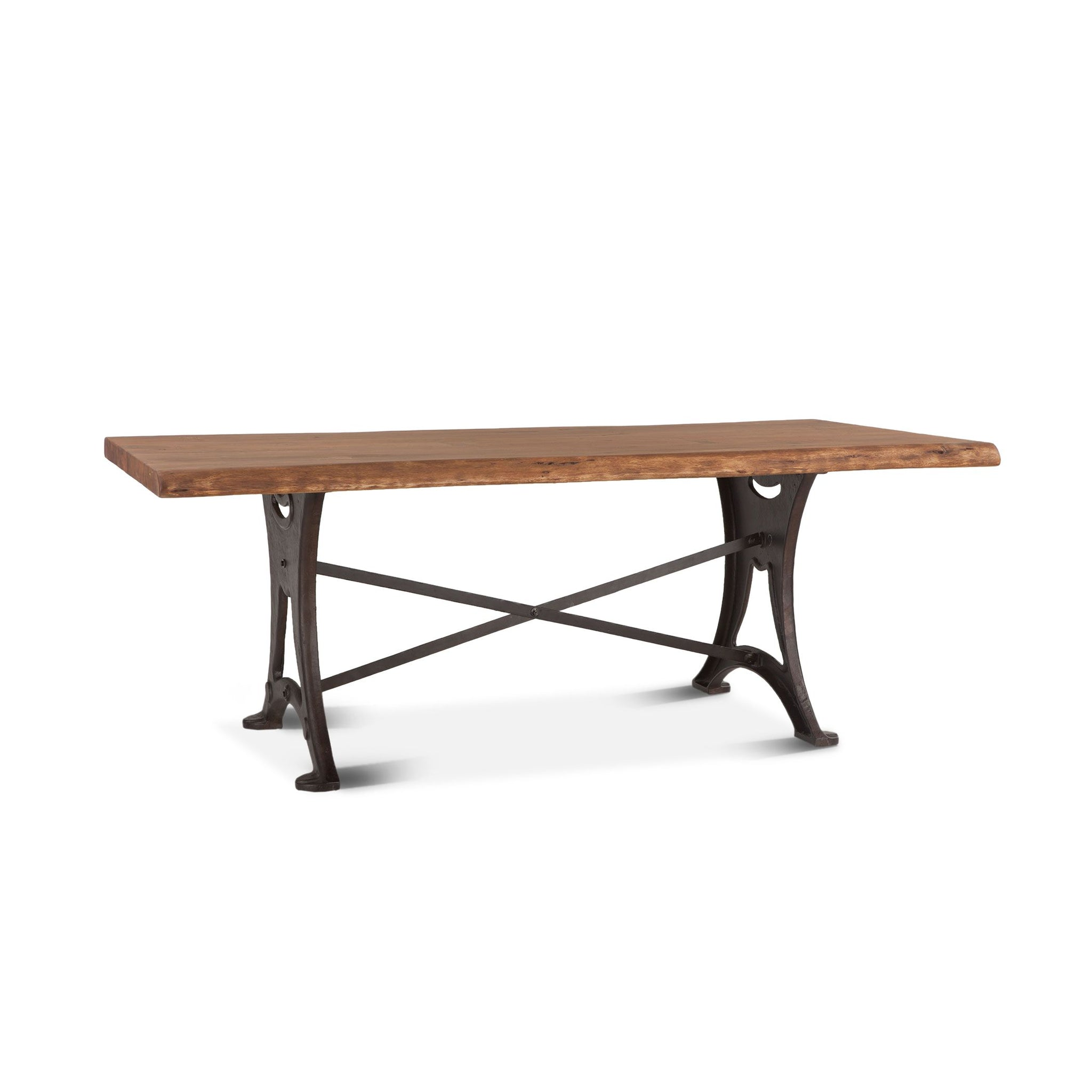 "80"" Live Edge Rustic Dining Table Industrial Iron Raw Walnut"